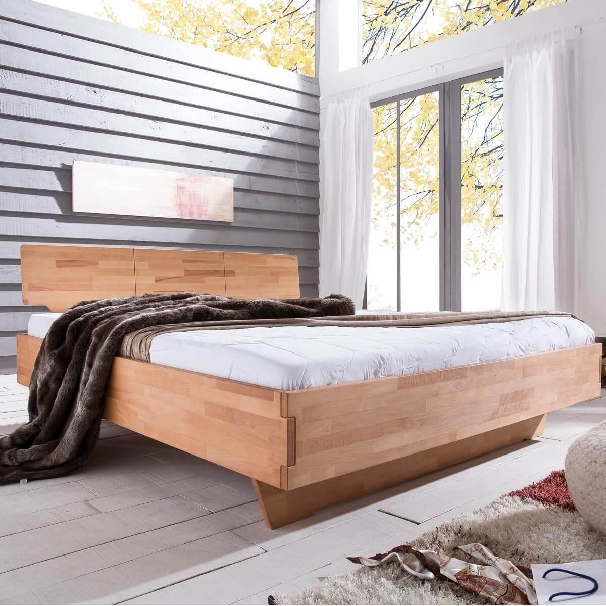 Woodlive Massivholzbett Cielo - Kernbuche Milieu