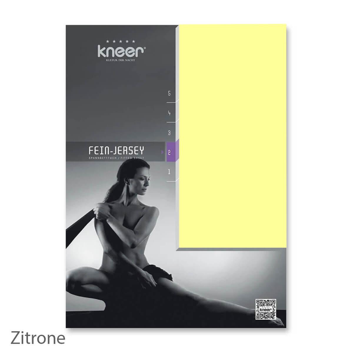 Kneer Fein-Jersey Qualität 50 Spannbetttuch - Zitrone